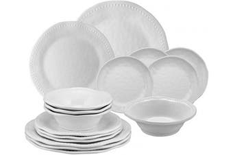 (Pebble) - Gourmet Art 16-Piece Beaded Heavyweight and Durable Melamine Dinnerware Set, Service for 4. Includes Dinner Plates, Salad Plates, Dessert Plates and Bowls. for Indoors Outdoors Use and Everyday Use.