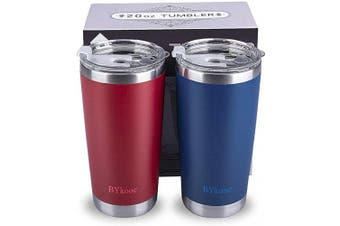 (Navy Blue&Red) - 590ml Tumbler with lid,BYkooc Stainless Steel Vacuum Insulated Double Wall Travel Coffee Mug with Straw, Durable Insulated Tumbler Cup, for Home, Outdoor, Office, Ice Drink(Navy Blue + Red)