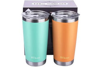 (Green&Coral Orange) - 590ml Tumbler with lid,BYkooc Stainless Steel Vacuum Insulated Double Wall Travel Coffee Mug with Straw, Durable Insulated Tumbler Cup, for Home, Outdoor, Office(Green + Coral Orange)