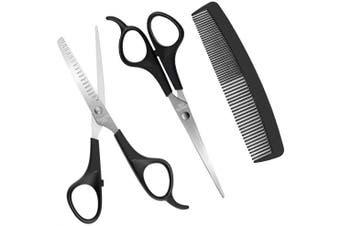 (Black-3pcs) - Hairdresser Scissors Set,Hair Cutting Scissors Thinning Teeth Shears with Hair Comb - Afocuz Professional Barber Salon Scissors Stainless 3 Pieces/Set Black (Black-3pcs)
