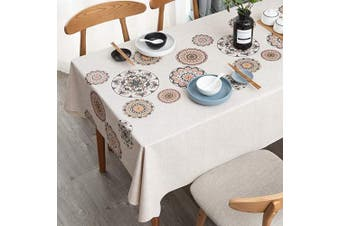 """(54"""" x 108""""-140x275 cm, Mandala Pattern) - LEEVAN Vinyl Tablecloth Heavy Weight PVC Rectangle Table Cover 100% Waterproof Oil-Proof Stain-Resistant Table Cloth for Indoor and Outdoor Use -140cm x 270cm ,Mandala Pattern"""