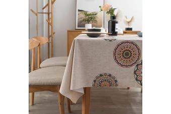 "(54"" x 72""-140x185 cm, Mandala Pattern) - LEEVAN Heavy Weight Vinyl Square Table Cover Wipe Clean PVC Tablecloth Oil-Proof Waterproof Stain-Resistant-140cm x 180cm ,Mandala Pattern"