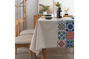 """(54"""" x 54""""-140x140 cm, National Pattern) - LEEVAN Heavy Weight Vinyl Square Table Cover Wipe Clean PVC Tablecloth Oil-Proof Waterproof Stain-Resistant-140cm x 140cm (National Pattern)"""