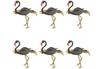 (Black) - Joyindecor Flamingo Napkin Rings Set of 6 - Metal Animal Bird Nautical Napkin Ring Holders Bulk for Wedding Party and Dining Table Decor (Black)