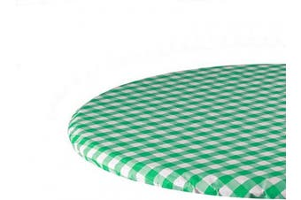 (80cm , Green) - Sorfey Indoor/Outdoor Vinyl Fitted Tablecloth Cover, Chequered Design, Flannel Backed Lining Stretched to Fit 80cm Round Table, Green