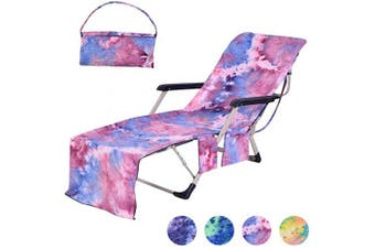 (Tie-dye Purple) - Idubai Beach Chair Towel with Side Pockets,Microfiber Chaise Lounge Towel Cover for Sun Lounger Pool Sunbathing Garden Beach Hotel,Easy to Carry Around,No Sliding,Tie-Dye Purple(210cm x 70cm )