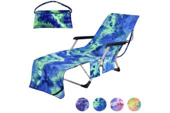 (Tie-dye Green) - Idubai Pool Chair Cover with Side Pockets,Microfiber Chaise Lounge Chair Towel Cover for Sun Lounger Pool Sunbathing Garden Beach Hotel,Easy to Carry Around,No Sliding,Tie-Dye Green(210cm x 70cm )