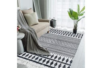 (0.9mx1.5m, Black Geometric) - HEBE Large Cotton Area Rugs 0.9mx1.5m Machine Washable Printed Woven Tassel Throw Rugs Black and White Floor Carpet Mat Bohemian Rug for Living Room Bedroom