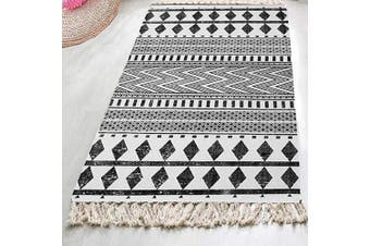 (0.7mx1.8m, Black Geometric) - HEBE Extra Long Cotton Area Rug Runner 0.7mx 1.8m Machine Washable Printed Hand Woven Cotton Rug Runner Floor Carpet for Living Room,Kitchen Floor,Laundry Room,Throw Blankets for Sofa