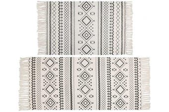 (0.6mx0.9m+0.6mx1.3m, Boho) - HEBE Cotton Area Rug Set 2 Pieces 0.6mx0.9m+0.6mx1.3m Machine Washable Hand Woven Cotton Rugs with Tassel Cotton Throw Rug Runner for Kitchen, Living Room, Bedroom, Laundry Room, Entryway