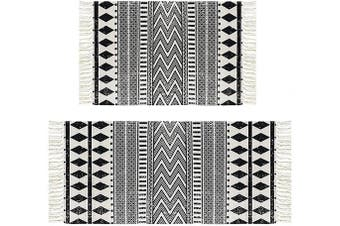 (0.6mx0.9m+0.6mx1.3m, Black Geometric) - HEBE Cotton Area Rug Set 2 Piece 0.6mx0.9m+0.6mx1.3m Machine Washable Black and Cream White Hand Woven Cotton Rug with Tassels Cotton Area Rug Runner for Living Room, Kitchen Floor, Laundry Room