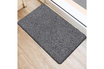 (90cm  x 60cm , Black and White Fibers) - BEAU JARDIN Indoor Super Absorbs Mud Doormat 90cm x 60cm Latex Backing Non Slip Door Mat for Front Door Inside Floor Dirt Trapper Mats Cotton Entrance Rug Shoes Scraper Machine Washable Rug Carpet Fibre