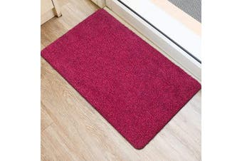 (90cm  x 60cm , Pink Fibers) - BEAU JARDIN Indoor Super Absorbs Mud Doormat 90cm x 60cm Latex Backing Non Slip Door Mat for Front Door Inside Floor Dirt Trapper Mats Cotton Entrance Rug Shoes Scraper Machine Washable Rug Carpet Pink