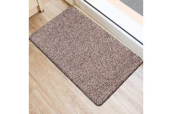 (70cm  x 46cm , Brownish Tan) - BEAU JARDIN Indoor Doormat Absorbent Mats 70cm x 46cm Latex Backing Non Slip Door Mat for Small Front Inside Floor Mud Dirt Trapper Cotton Entrance Rug Shoes Scraper Machine Washable Carpet Brownish Tan