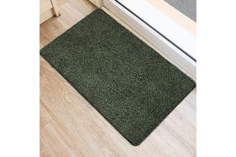 (90cm  x 60cm , Green and Black Fibers) - BEAU JARDIN Indoor Super Absorbs Mud Doormat 90cm x 60cm Latex Backing Non Slip Door Mat for Front Door Inside Floor Dirt Trapper Mats Cotton Entrance Rug Shoes Scraper Machine Washable Rug Carpet
