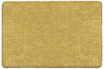 (90cm  x 60cm , Yellow Fibers) - BEAU JARDIN Indoor Super Absorbs Mud Doormat 90cm x 60cm Latex Backing Non Slip Door Mat for Front Door Inside Floor Dirt Trapper Mats Cotton Entrance Rug Shoes Scraper Machine Washable Rug Carpet Yellow