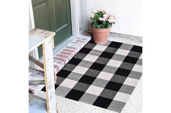 (46cm  x 70cm , Black & White) - Buffalo Plaid Rug - 46cm x 70cm Black and White Cheque Door Mat Outdoor - Farmhouse Rugs for Kitchen/Bathroom/Front Porch/Decor - Welcome Doormats - Chequered Flannel Cotton Entry Way Mats