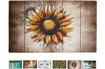 (Artistic Sunflower) - Rubber Welcome Door Mat, Decorative Indoor Outdoor Doormat Non Slip Front Door Mat, Easy to Clean Low Profile Mat for Entry Patio Garage High Traffic Areas, 44cm x 70cm (Artistic Sunflower)