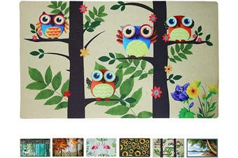 (Owls on Tree) - Rubber Welcome Door Mat, Decorative Indoor Outdoor Doormat Non Slip Front Door Mat, Easy to Clean Low Profile Mat for Entry Patio Garage High Traffic Areas, 44cm x 70cm (Owls on Tree)