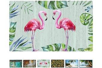 (Flamingo) - Rubber Welcome Door Mat, Decorative Indoor Outdoor Doormat Non Slip Front Door Mat, Easy to Clean Low Profile Mat for Entry Patio Garage High Traffic Areas, 44cm x 70cm (Flamingo)