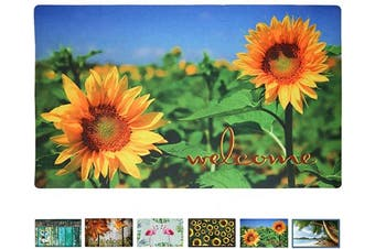 (Sunflower Welcome) - Rubber Welcome Door Mat, Decorative Indoor Outdoor Doormat Non Slip Front Door Mat, Easy to Clean Low Profile Mat for Entry Patio Garage High Traffic Areas, 44cm x 70cm (Sunflower Welcome)
