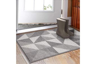 (80cm  x 120cm ) - Indoor Doormat 80cm x 120cm , Absorbent Front Back Door Mat Floor Mats, Rubber Backing Non Slip Door Mats Inside Mud Dirt Trapper Entrance Front Door Rug Carpet, Machine Washable Low Profile-Grey Geome