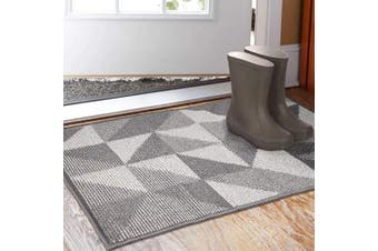 (60cm  x 90cm ) - Indoor Doormat 60cm x 90cm , Absorbent Front Back Door Mat Floor Mats, Rubber Backing Non Slip Door Mats Inside Mud Dirt Trapper Entrance Front Door Rug Carpet, Machine Washable Low Profile-Grey Geome