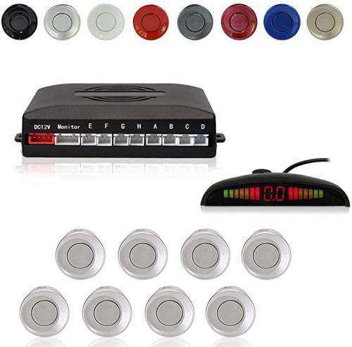 Gray Color Cocar Car Reverse Parking Radar System with 8 Parking Sensors Distance Detection Sound Warning LED Distance Display