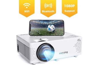 (White1) - Projector VicTsing Portable Mini Projector Bluetooth Projector 3800 Lumens Support 1080P 450cm Display 40,000 Hrs Lamp Life HiFi Sound with Tripod Compatible with PS4/HDMI/VGA/AV/USB/SD