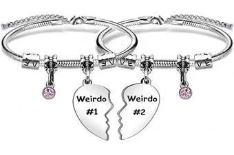 (crystal) - Weirdo Gift,2Pcs Weirdo #1 Weirdo #2 Heart Pendant Bracelet For Best Friends Birthday Christmas Gift