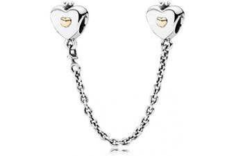 (Heart and Crown) - Safety Chain Collection Bracelet Charms Authentic S925 Sterling Silver Safety Chain Stoppers for Charm Bracelets with Gift Pouch