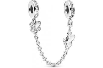 (Decorative Butterflies Safety Chain) - Safety Chain Collection Bracelet Charms Authentic S925 Sterling Silver Safety Chain Stoppers for Charm Bracelets with Gift Pouch