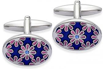 Code Red Base Metal Rhodium Plated with Pink and Blue Enamel and Blue Crystal Cufflinks