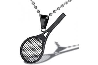 (Black) - AILUOR Stainless Steel Tennis Racket Shape Pendant Necklace Smashing Racquet and Ball Simple Sport Charm Tennis Pendant Perfect Gift for Him or Her