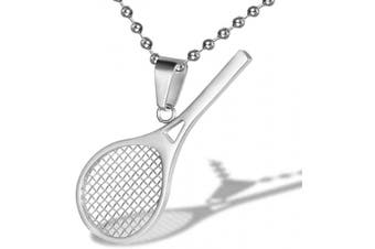 (Silver) - AILUOR Stainless Steel Tennis Racket Shape Pendant Necklace Smashing Racquet and Ball Simple Sport Charm Tennis Pendant Perfect Gift for Him or Her