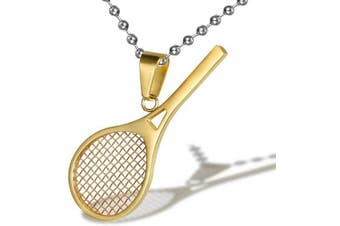 (Gold) - AILUOR Stainless Steel Tennis Racket Shape Pendant Necklace Smashing Racquet and Ball Simple Sport Charm Tennis Pendant Perfect Gift for Him or Her