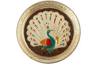 Aatm Brass Puja Plate with Peacock Emobossed Design Best for Home & Office Decoration & Gift Purpose Handicraft (13cm )