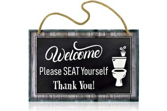 (Seat Yourself) - Bigtime Signs Funny Restroom Sign for Bathroom - Welcome, Please Seat Yourself - 29cm x 19cm Rigid PVC with Rope
