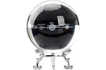 (80mm (3.15inch), 3d Solar System With Silver Stand) - Aircee 3D Solar System Crystal Ball Models, Decorative Galaxy Glass Ball with A Stand, Great Gifts, Educational Toys, Home Office Decor, Planets Sphere with Gift Box