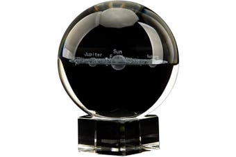 (80mm (3.15inch), 3d Solar System With Crystal Stand) - Aircee 3D Solar System Crystal Ball, Decorative Glass Ball with A Stand, Home Office Decor, Great Gifts, 80mm (3.15inch), with Gift Box