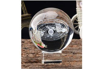 (60mm (2.36inch), 3d Solar System With Crystal Stand) - Aircee 3D Model of Solar System Crystal Ball, Decorative Planets Glass Ball with A Stand, Great Gifts, Educational Toys, Home Office Decor, Galaxy Sphere with Gift Box