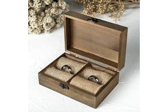 (Rustic Wood + Rectangular) - AW BRIDAL Wedding Ring Box Wooden Ring Bearer Holder Box Rustic Engagement Ring Box Gift Engraved Ring Box Wedding Decor for Ceremony
