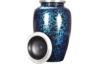 (6 x 6 x 10 - Inches, Forest Blue) - Alpha Living Home Cremation Urn for Ashes - Adult Funeral Urn Handcrafted - Affordable Urn for Ashes - Large Funeral Memorial with Elegant Finish for Cemetery Burial - Forest Blue