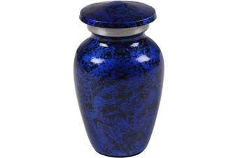 (1.7x1.7x2.8 - Inch, Blue/Black) - Keepsake Cremation Urn - Mini Funeral Memorial with in Blue Design for Sharing of Token Amount of Ashes, Miniature Burial, Funeral Urns for small Aluminium Keepsake Urn Sharing for Pet or Human Ashes