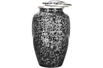 (6 x 6 x 10 - Inches, Charcoal/Black) - Alpha Living Home Cremation Urn for Human Ashes Adult, Urns for Ashes, Adult/Large, 1kg Weighted Aluminium Urns, Colour - Silver/Black