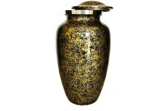 (6 x 6 x 10 - Inches, Gold/Black) - Alpha Living HomeCremation Urn for Human Ashes Adult, Urns for Ashes, Adult/Large, 1kg Weighted Aluminium Urns, Colour - Gold/Black