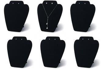 7TH VELVET 6 Pieces Black Velvet Easel Necklace & Earing Display 19cm W x 21cm H, Cover with Sturdy Velvet, Reinforced Bracket