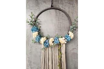 (Light Blue) - RISEON Handmade 80cm Long Large Tassel Dream Catcher Wall Hanging Decoration Macrame Fringe Floral Flower Wreath Dreamcatcher Boho Home Decor Ornament Gift (Light Blue)