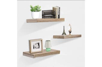 (3pcs, Grey Wash) - ZGZD Rustic Floating Shelves for Wall Display Shelf, Easy to Instal, Set of 3, 15cm Deep