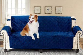 (200cm  Sofa Oversized, Navy) - Brilliant Sunshine Premium Silky Velvet X-Large Oversized Sofa Protector for Seat Width up to 200cm , Slip Resistant, Waterproof, Furniture Slipcover, 5.1cm Strap, Couch Cover for Pets, Sofa, Blue